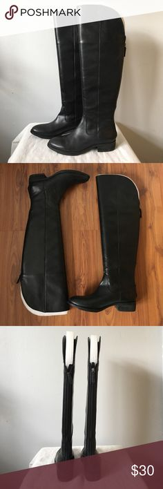 """Arturo Chiang Everly Black Riding Boots 6 - Almond toe - Back zip closure - Lightly padded insole - Stacked heel - Approx. 20"""" shaft height, 16"""" opening circumference - Approx. 1 3/8"""" heel - Imported Materials Leather upper, rubber sole Gorgeous and sleek over the knee riding boots. Very good preloved condition overall, but there are a few scratches. Fits small, more like a 5 because it's pretty narrow. Arturo Chiang Shoes Over the Knee Boots"""