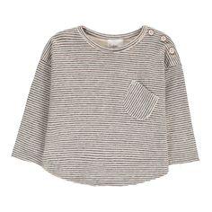 7d0df5c341233 Buho Milu Striped Japonese Cotton T-Shirt Heather grey  Glockenhülsenoberseite, Baumwolle, Baby,