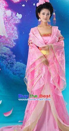 Ancient Chinese Tang Dynasty Pink Princess Costumes
