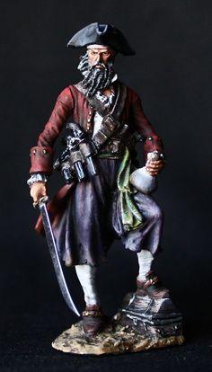 ELITE TIN SOLDIER: Pirate Blackbeard 54 mm., figurine, metal sculpture. #Spbsouvenir