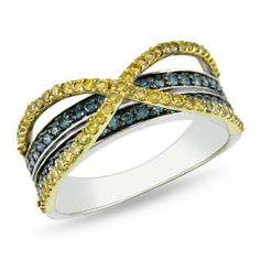 14k Multi-colored Gold 1/2 CT TDW Yellow and Blue Diamond Criss Cross Ring (I1-I2) Amour. $672.99