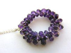 123 SALE  Amethyst Circle Sterling Necklace by MelanieMiljan, $80.00