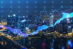 Panoramic evening New York view with the digital financial chart. A concept of the professional financial services. Financial Charts, Day Trading, Financial Markets, Machine Learning, Stock Market, Things That Bounce, The Help, Investing, Stock Photos