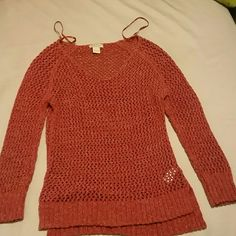 Lucky Brand Rust colored open-knit sweater.  Size L but fits more like a medium. Lucky Brand Sweaters