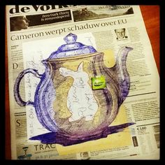 24th January - I would like a cup of tea please - bic, marker and collage on newspaper