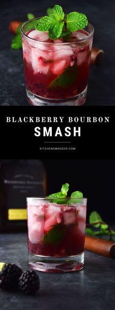 Blackberry Bourbon Smash (Whiskey Smash Recipe) The blackberry bourbon smash is made with Woodford Reserve Bourbon, fresh muddled mint and blackberries, lime, and simple syrup. Whiskey Smash, Bourbon Smash, Slushies, Bar Drinks, Cocktail Drinks, Beverages, Simple Cocktail Recipes, Alcoholic Shots, Alcoholic Drink Recipes