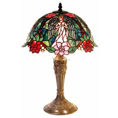 Red Pink Angel Garden Tiffany-style Stained Glass Table Lamp