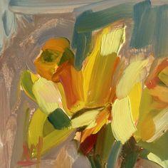 Abstract Daffodils original floral oil painting door prattcreekart