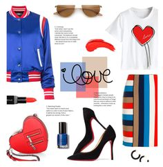 """""""Solid Love"""" by lisalockhart ❤ liked on Polyvore featuring AMIRI, MARC CAIN, Christian Louboutin, Rebecca Minkoff, Smashbox, Bobbi Brown Cosmetics, stripesonstripes, PatternChallenge and MyFaveTshirt"""