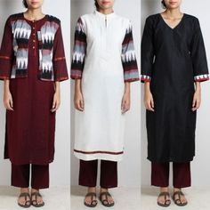 Corporate Set of Ikat Cotton Jacket With White Cotton, Maroon Handloom Cotton And Black Cotton Blend Kurta & Maroon Handloom Cotton Tapered Bottoms