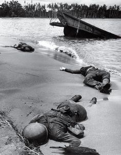 This photo by George Stock, taken on Buna Beach, New Guinea was the first photo published in the U.S. showing dead servicemen during World War II. Taken in February 1943, Cal Whipple, LIFE Magazine's Pentagon correspondent, pushed for the photo to be made public. Seven months later, with the agreement of FDR, it was. Cal Whipple died on March 17, 2013 at the age of 94.