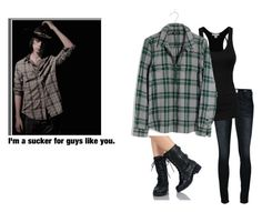"""i'm a sucker for guys like you. // Justine Dixon X Carl Grimes"" by j-j-fandoms ❤ liked on Polyvore featuring Charlotte Russe, Frame and Madewell"