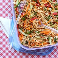 Saucy Sesame-Peanut Noodles - make-ahead dish for summer picnics and potlucks! Vegan.