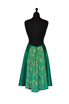 Tango Dance Skirt Madame Ellvire by TheGiftofDance Tango Dress, Tango Dance, Tango Shoes, Argentine Tango, Green Satin, Layered Skirt, Polyester Satin, Couture, Paisley Pattern