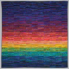 Quilts of Ann Brauer--Abstract landscapes in fiber on Behance Batik Quilts, Scrappy Quilts, Mini Quilts, Landscape Quilts, Abstract Landscape, Watercolor Quilt, Rainbow Quilt, Ocean Quilt, Rainbow Art
