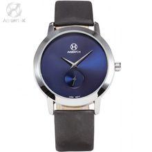 AGENTX Brand New Leather Strap Band Blue Dial Relojes Male Blue Dial Analog Clock Casual Quartz Dress Mens Wristwatch / AGX069(China (Mainland))