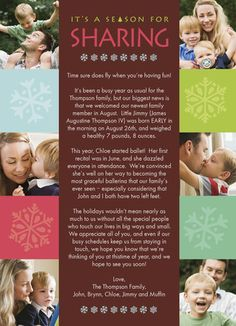 """Sharing Season Newsletter - American Greetings - Photo Christmas Newsletter. Share everything you have been up to with family and friends with the help of a photo Christmas newsletter that leaves plenty of room for your to personalize. Share six photos and details of the past year for a cute way to catch up! 5"""" x 7"""" Flat Card. Price: $1.69"""