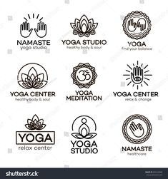 Yoga logo template set for your yoga center, yoga studio, meditation class. Health care, sport, fitness logo design elements.