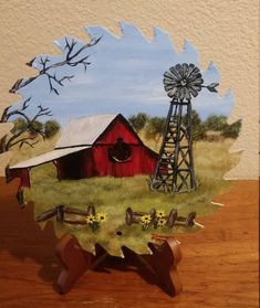 Old red barn and windmill, country barn and windmill, Farm Paintings, Country Paintings, Acrylic Paintings, Stone Painting, Diy Painting, Hand Painted Gourds, Tole Painting Patterns, Lame, Painting Inspiration