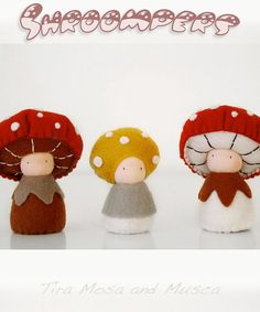 Shroompers: Eco-Friendly Mushroom childrens dolls / organic and natural wool felt / Tira Mosa and Musca via Etsy