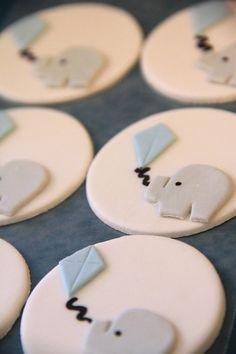Fondant Baby Elephant cupcake toper with kite on Etsy, $19.00
