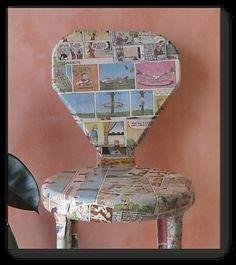 decoupaged stool