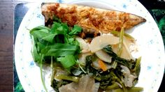 Baked garlic paprika mackerel fillet served with spinach and radish simmered in coconut milk on top of basmathi rice.
