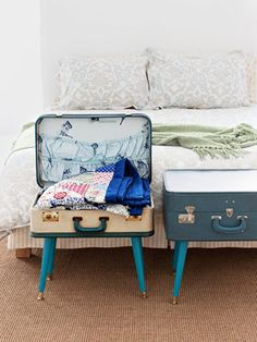 An Old Suitcase Gets a New Life  Suit up vintage luggage as clever storage. All you'll need is a hard-sided suitcase, unfinished table legs (paint them in a hue to match your case), angled metal top plates, particleboard, and screws.