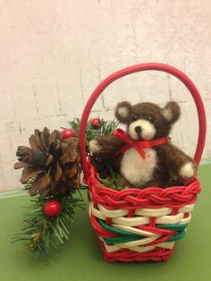 Bosco Needle felted teddy bear Christmas by weewooleybeasties
