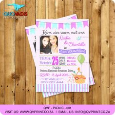This listing is for a x invitation (your choice of a printable file or printed and shipped) customized with your event details. Picnic Invitations, Printable Invitations, Birthday Party Invitations, Invite, Twin Birthday, Corporate Gifts, Rsvp, Twins, Girly