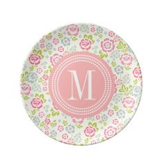Cute Pink & Blue Girly Floral Personalized Porcelain Plate