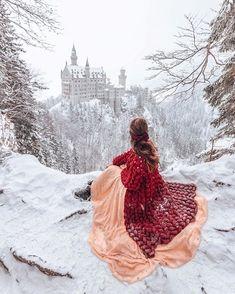 Schloß Neuschwanstein, built by Ludwig II of Bavaria in Winter Neuschwanstein Castle, Princess Aesthetic, Fantasy Photography, Fantasy Landscape, Landscape Art, Fairy Tales, Beautiful Pictures, Girly, Photoshoot