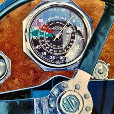 Interface of a 1934 MG Midget PA showing RPM and Speed in two gears simultaneously. Ah those Brits were a crafty bunch. #Jaeger | by Pete Petras