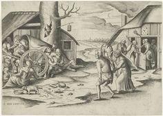 Frans Huys | Maria en Jozef bij een herberg, Frans Huys, Cornelis Massijs, 1558 | Jozef en Maria met de ezel, staand bij de herberg waar geen plaats voor hen is. In de deuropening staat een wijzende vrouw en een man, kind en hond. Links bij een boom een aantal figuren in een wagen voor een woning. Enkele figuren zitten rond een ketel boven een vuur. In de holle boom zit een man. Op de achtergrond een landschap met een weg, een kerktoren en bomen aan de horizon.