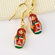 Metallic Matryoshka Doll Earrings