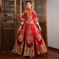 Fabric: Brocade Pattern: Auspicious, Floral Embroidery Length: Full Length Silhouette: A-line Collar: Mandarin Collar Sleeve: Sleeve, Mandarin Sleeve Chinese Gown, Chinese Bride, Wedding Chinese, Chinese Dresses, Chinese Wedding Dress Traditional, Traditional Dresses, Oriental Fashion, Asian Fashion, Embroidery Dress