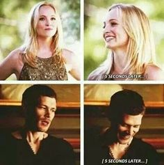 They make each other laugh even when they don't want to :) Klaroline