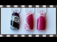 Кружево 3D гелем на ногтях. Пластилайн на гель-лаке. Объемное кружево. PLASTILINE 3-D Nail Art - YouTube