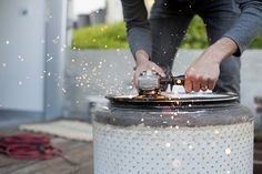 DIY recycled fire pit