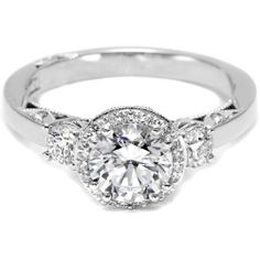 Tacori Three Stone Pave Diamond Halo Engagement Ring  | 2640RD