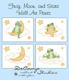 Frog, cloud, moon, and stars 8x10 Wall Art Prints baby girl boy nursery, bathroom, or children's froggy room decor #decampstudios