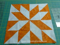 Block of the Month Quilt Along – March 2014 by Carole...So, March's block is Annie's Choice, click here for the pattern.  It is all half square triangles.  I cut 4 inch squares instead of the 3 7/8 called for so I can cut them square later.  So, cut your squares, then mark your diagonal lines.