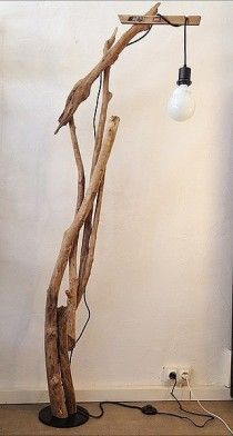 An awesome floor lamp made from branches and pieces of wood - contemporary meets rustic all wrapped up in eco chic! Driftwood Lamp, Tall Lamps, Wood Interiors, Wooden Art, Diy Room Decor, Home Decor, Lamp Design, Chandelier Lighting, Modern Lighting