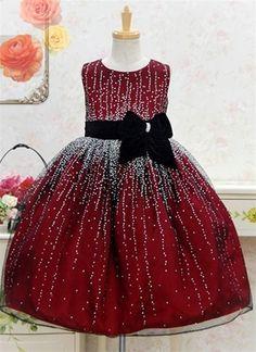 Red Mesh Dress with Contrating Black Velvet Sash & Bow