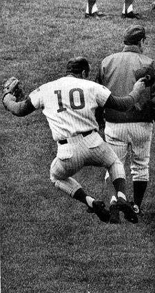 "Ron Santo's signature ""heel click"" after a Cubs win in 1969"