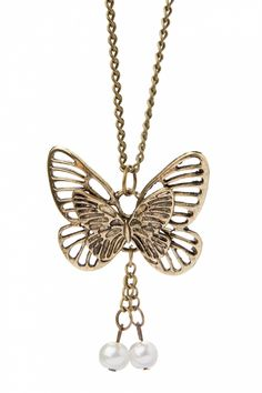 From Paris with Love! - Mon papillon! Vintage Gold pearl necklace