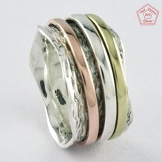Sz 8.5 US, GENTLE BEAUTY DESIGN 925 STERLING SILVER SPINNER RING,R4478 #SilvexImagesIndiaPvtLtd #Spinner #AllOccasions
