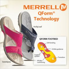 There's more than meets the eye with this Merrell sandal. The QForm technology in the midsole helps improve a woman's stride with both cushioning and support. #FootSmart #Sandal