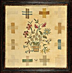 Darning sampler with pot of flowers initialed E S dated 1802