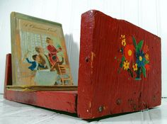 Primitive HandCrafted Red Wooden Shelf  Vintage by DivineOrders, $12.00